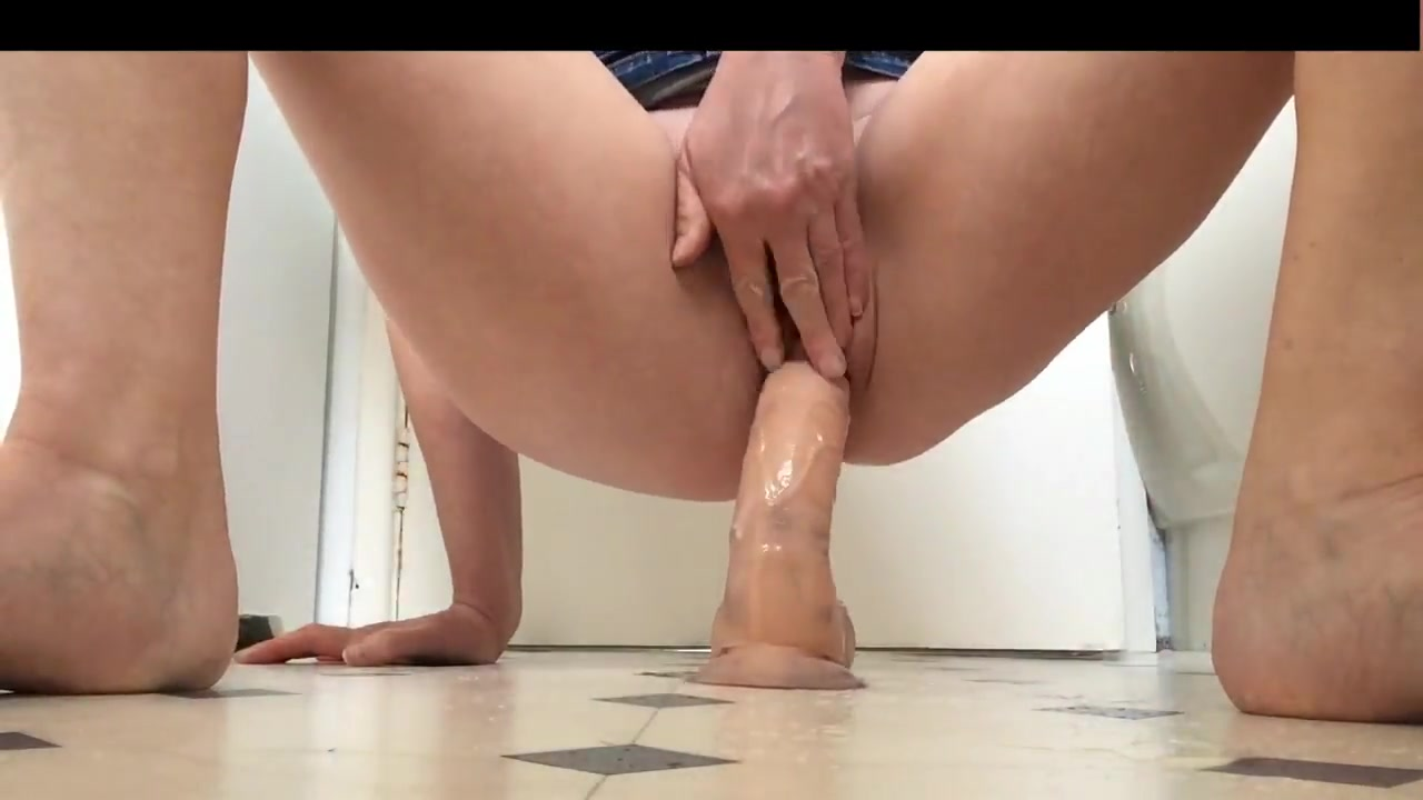 Shaved Pussy Riding Dildo