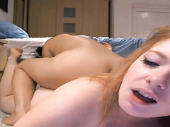 Softcore lesbians playing on webcam