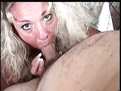 Blonde MILF blows and strokes